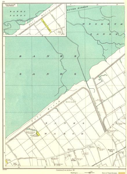 Associate Product LANCASHIRE.Ribble,Banks Sands,Salt Marsh,Hundred End,Far Banks 1935 old map