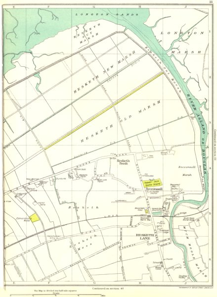 Associate Product LANCS.Hesketh Lane Old Marsh,New,Becconsall,Much Hoole,River Asland 1935 map