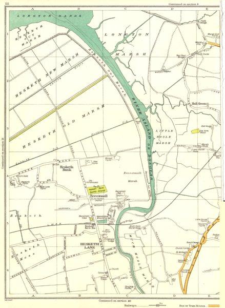Associate Product LANCASHIRE.Hesketh Lane,Old Marsh,New,Becconsall,Moss, River Asland 1935 map