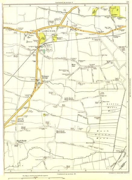 Associate Product LANCS.Little Hoole Moss,Much,town,Walmer bridge,Longton,Goose Green 1935 map