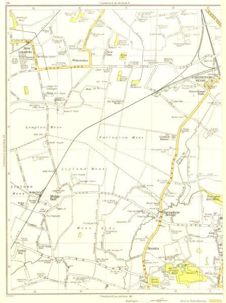 Associate Product LANCS.Leyland,New Longton,Midge Hall,Earnshaw bridge,Farington Moss 1935 map
