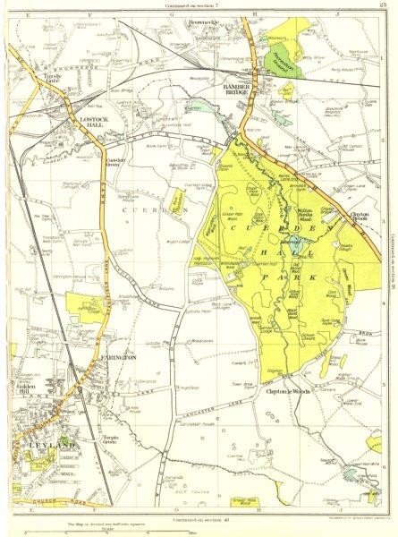Associate Product LANCASHIRE.Tardy Gate,Lostock Hall,Bamber Bridge,Farington,Leyland 1935 map