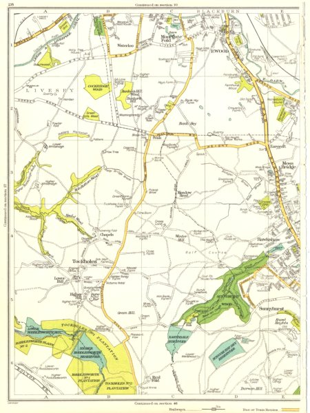 Associate Product LANCS.Darwen,Liversey,Moorgate Fold,Ewood,Tockholes,Hawkshaw,Ryal Fold 1935 map