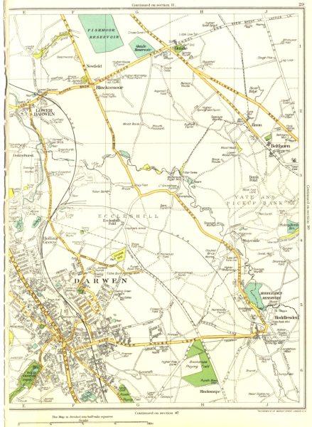 LANCASHIRE.Darwen,Lower,Blackamoor,Belthorn,Hollin's Grove,Hoddlesden 1935 map