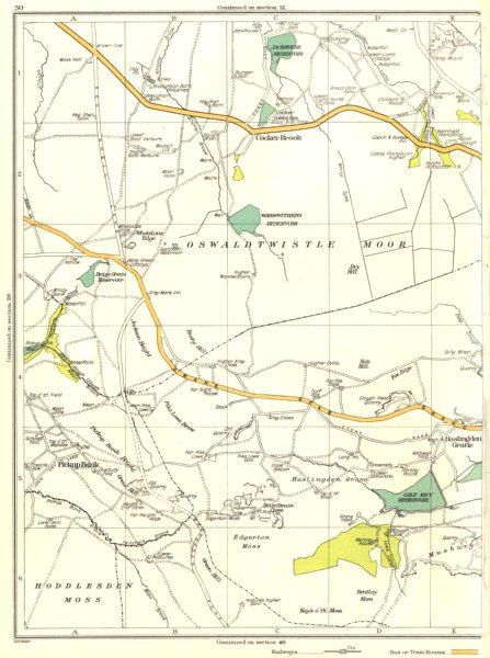 Associate Product LANCS.Oswaldtwistle Moor,Cocker Brook,Hoddlesden Moss,Edgerton,Bentley 1935 map