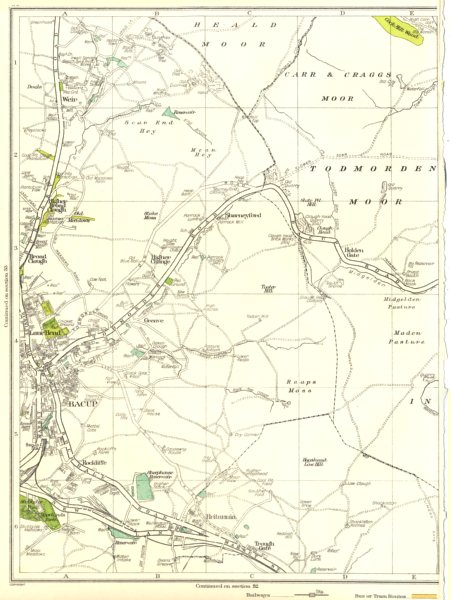 Associate Product LANCS.Bacup,Britannia,Trought Gate,Maden Pasture,Holden,Sharneyford 1935 map