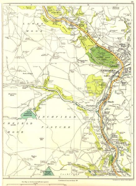 Associate Product YORKS.Walsden,Lower Moor,Inchfield Pasture,Lydgate,Todmorden,Cobden 1935 map