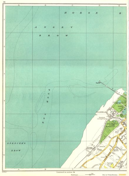 Associate Product LANCS.Southport,Bog Hole,Angry Brow,Victoria Park,Pleasureland 1935 old map