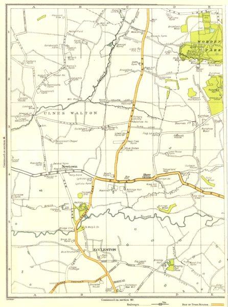 Associate Product LANCASHIRE.Eccleston,Newtown,Shaw Green,Ulnes Walton,Worden Park 1935 old map