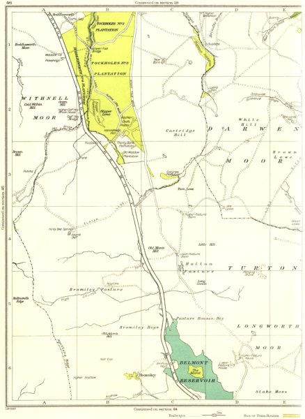 Associate Product LANCS.Longworth Moor,Stake Moss,Hulton Pasture,Bromiley,Withnell Moor 1935 map