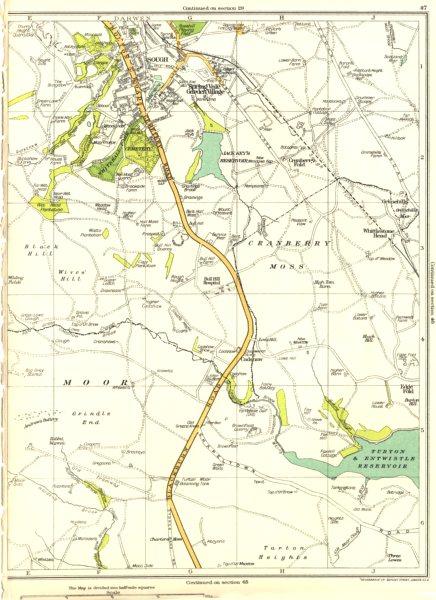 Associate Product LANCS.Darwen,Cranberry Moss,Sough,Springvale garden village 1935 old map