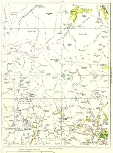 Associate Product LANCS.Shore Moor,Wardle,Littleborough,Caldermoor,Water Grove,Hades 1935 map