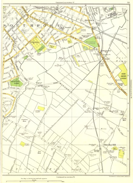 Associate Product LANCASHIRE.Southport,Redford Park,Brown Edge,Shirdley Hill,Blowick 1935 map