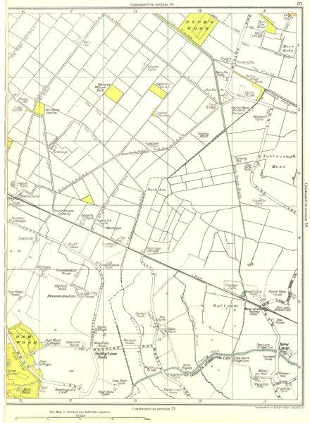 Associate Product LANCASHIRE.Damwood,New Lane,Tarlscough Mose,Nuck's Wood 1935 old vintage map
