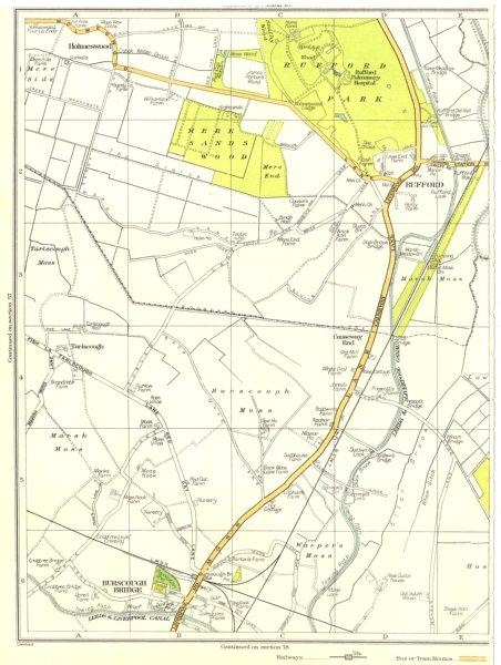 Associate Product LANCS.Holmeswood,Burscough Bridge,Warper's Moss,Rufford,Marsh Moss 1935 map