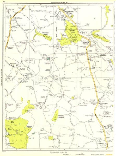 LANCASHIRE.Mossy Lea,Tunley,Broadhurst,Heskin Green,Eccleston Bridge 1935 map