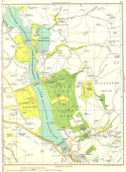 Associate Product LANCS.Upper Horwich,Rivington,Lever park,Anderton,Reservoir 1935 old map