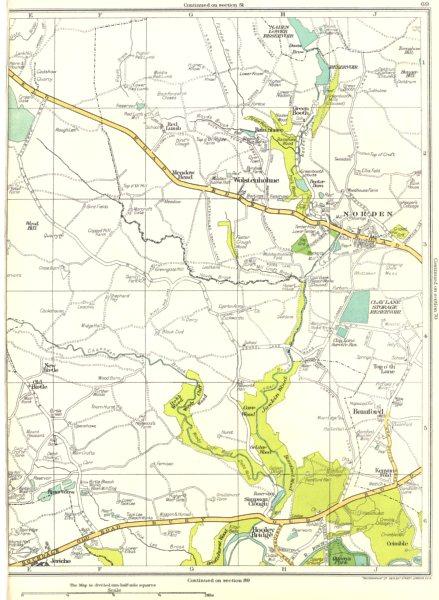 Associate Product LANCASHIRE.Hooley Bridge,Simpson Clough,Bamford,Norden,Wolstenholme 1935 map