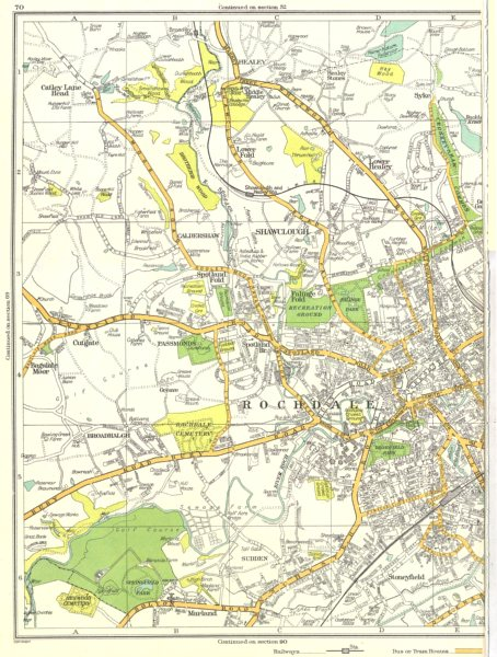 Associate Product ROCHDALE.Shawclough,Marland,Stoneyfield,Broadhalgh,Caldershaw 1935 old map