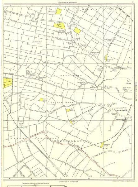 Associate Product LANCASHIRE.Downholland,Barton,Halsall Moss,Rain Bag,Carr Moss 1935 old map