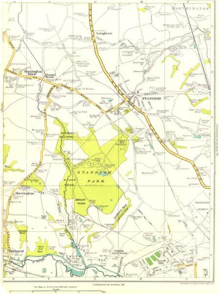 Associate Product LANCASHIRE.Gathurst,Shevington,Standish,Worthington,Langtree 1935 old map