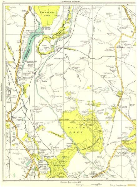 Associate Product LANCS.Red Rock,Haigh Park,Marylebone,New Springs,Adlington Park,Haigh 1935 map