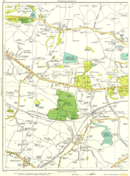Associate Product LANCASHIRE.Bolton,Lostock,Wingates,Lower Brazley,Bottom O'Th' Moor 1935 map