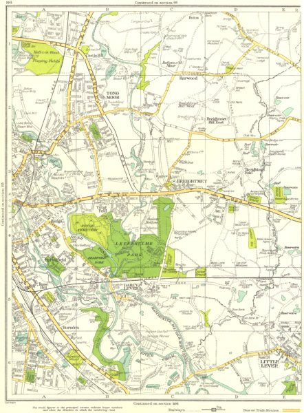 Associate Product BOLTON.Tong Moor,Breightmet,Little Lever,Springfield 1935 old vintage map