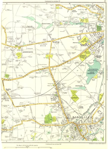 Associate Product LANCS.Ainsworth,Radcliffe,Black Lane,Starling,Elton,Little Lever 1935 old map