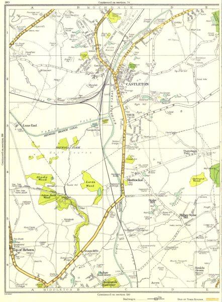Associate Product LANCS.Rochdale,Castleton,Trub,Slattocks,Higher Boarshaw 1935 old vintage map