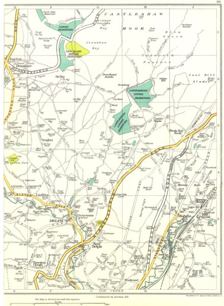 Associate Product YORKS.New Delph,Linfitts,Denshaw,Thurston Clough,Diggle,Dob Cross 1935 old map