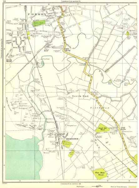 Associate Product LANCS.Formby,North End,Hightown,Altcar,Flea Moss Wood,Raven Meols 1935 old map
