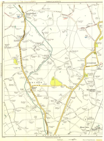 Associate Product LANCS.Lydiate,Aughton,Brookfields Green,Downholland Cross,Maghull 1935 old map