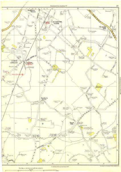 Associate Product LANCS.Town Green,Aughton Park,Scarth Hill,Royal Oak,Bowker's Green 1935 map