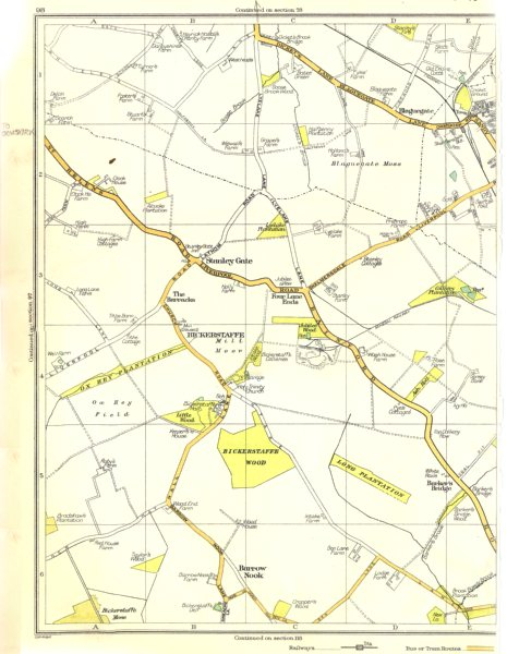 Associate Product LANCS.Stanley Gate,Barracks,Bickerstaffe,Barrow Nook,Wood,Skelmersdale 1935 map