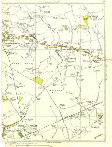 Associate Product LANCS.Skelmersdale,Rainford Junction,Upholland Moor,Digmoor,Crawford 1935 map