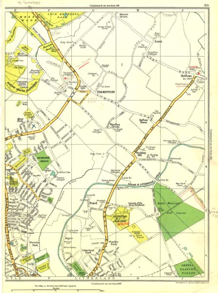 Associate Product LANCS.Great Crosby,Thornton,Ford,Buckley Hill,Sefton,Litherland 1935 old map