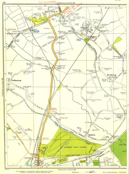 Associate Product LANCS.Bootle,Maghull,Melling,Netherton,Aintree,Kennessee Green 1935 old map