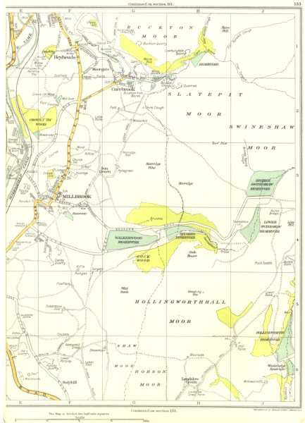 Associate Product CHESHIRE.Millbrook,Hollingworth Hall Moor,Hobson,Carrbrook,Stalybridge 1935 map