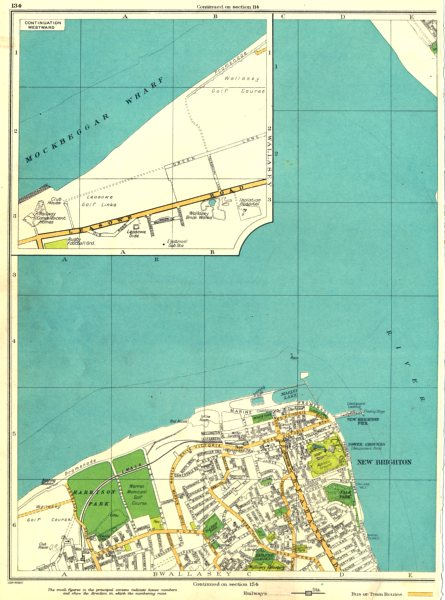 Associate Product LANCS.Mockbeggar Wharf,New Brighton,Harrison Park,Wallasey 1935 old map