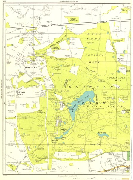 Associate Product LANCS.Knowsley Park,Prescot,Maiden's Bower,White Man's Dam,Mizzy Dam 1935 map