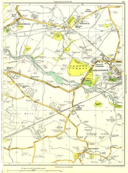 Associate Product LANCS.Derbyshire Hill,Green,Burtonwood,Earlestown,Haydock,Blackbrook 1935 map