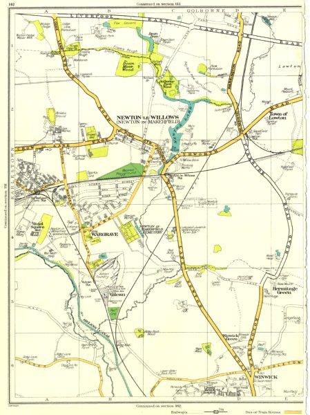 Associate Product LANCS.Newton-le-Willows,Wargrave,Vulcan,Winwick,Hermitage Green,Lowton 1935 map