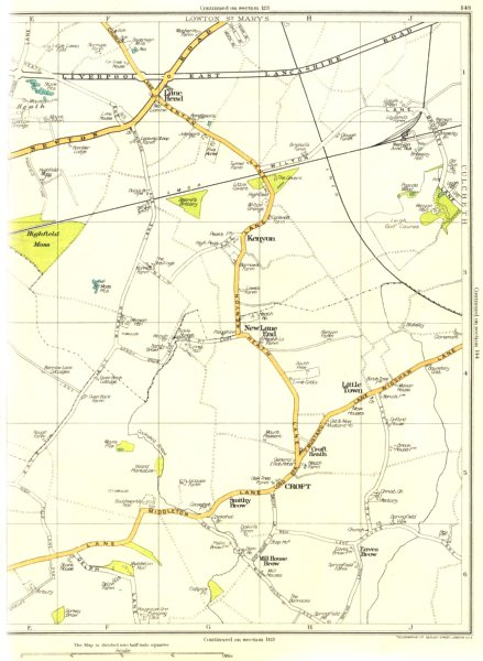 Associate Product LANCS.Lowton St Mary's,New Lane End,Croft,Kenyon,Eaves Brow 1935 old map