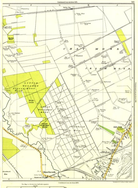 Associate Product LANCASHIRE.Glazebrook,Great Woolden Wood,Irlam,Cadishead Moss,Chat 1935 map
