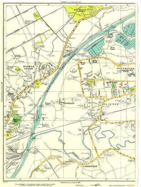 Associate Product LANCS.Higher Irlam,Jenny Green,Woodlands,Carrington,Flixton,Davyhulme 1935 map
