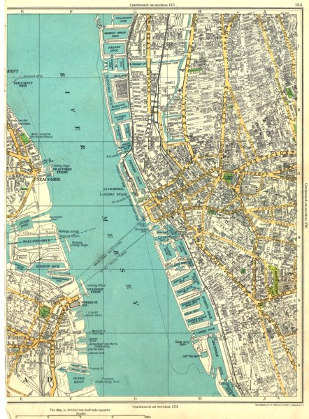 Details about LIVERPOOL.Seacombe,Egremont,Woodside Ferry,River  Mersey,Birkenhead 1935 map