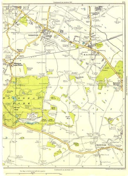 LANCS.Prescot,Whiston,Holt,Lane Ends,Halsnead Park,Cronton,Rainhill 1935 map