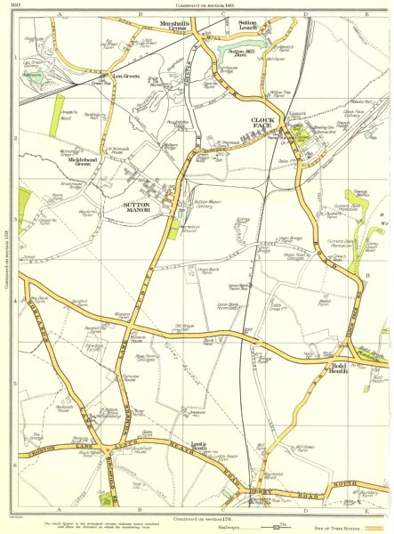 Associate Product LANCS.Marshall's Cross,Sutton Leach Manor,Clock Face,Micklehead Green 1935 map
