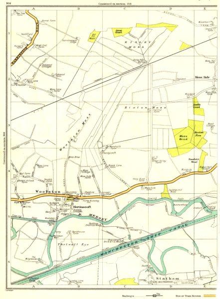 Associate Product LANCS.Risley Moss,Woolston Moss,Woolston,Mersey Martinscroft,Statham 1935 map